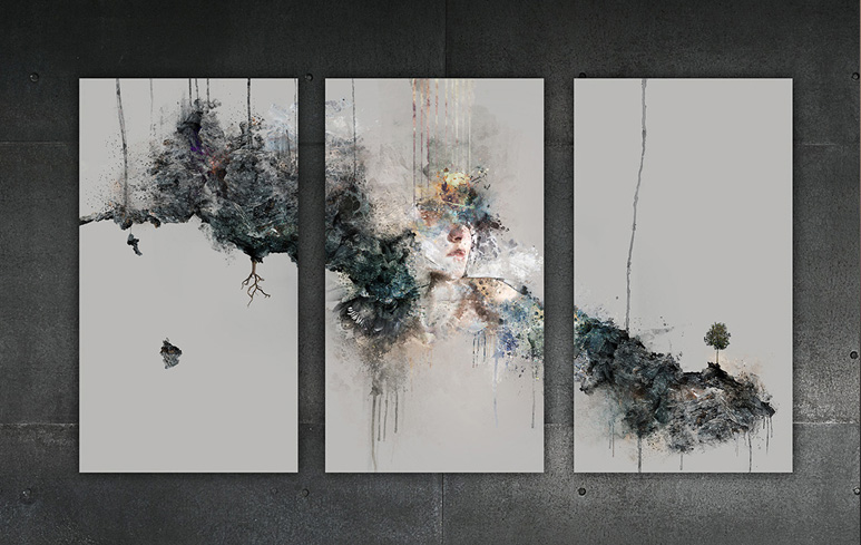 As Above So Below Triptych Canvas by No Cure For Life | NCFL